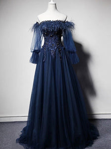 Off the Shoulder Long Sleeve Navy Prom Dress A Line Long Prom Evening Dress CAP51239