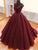 Ball Gown Cap Sleeve Sexy V Neck Burgundy Prom Dress Long Sparkly Prom Evening Dress CAP51240|CathyProm