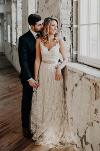 Luxury Lace Wedding Dress Sexy Spaghetti Straps Rustic Wedding Dress Open Back CP024|VathyProm