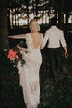 Exquisite Lace Wedding Dress Long Sleeve Open Back Rustic Wedding Dress Bridal Gown CP027|CathyProm