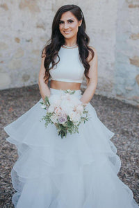Two Piece Simple Wedding Dress Ruffle Modest Tulle Rustic Wedding Dress Bridal Gown CP029|CathyProm