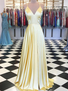 Sexy V neck A Line Yellow Long Prom Dresses Backless Simple Prom Evening Dress CTB1517|CathyProm