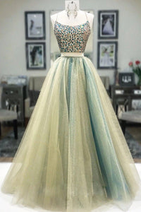 Two Piece Halter Beaded Prom Dress A Line Unique Tulle Prom Evening Dress CTB1612|CathyProm