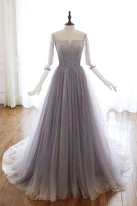 Off the Shoulder Unique Tulle A Line Prom Dress with Sleeves Chic Beaded Prom Evening Dress CTB1614|CathyProm