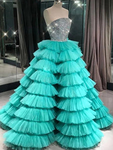 Ball Gown Sexy Strapless Blue Modest Tulle Ruffly Long Prom Dress Beaded Prom Evening Gown CTB1615|CathyProm