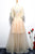 Champagne A Line Tulle V Neck Long Embroidery Lace Short Sleeves Evening Dress OHC469 | Cathyprom
