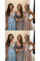 Charming A Line Spring V Neck Sleeveless Long Tulle Prom Dress Long Evening Dress OHC473 | Cathyprom