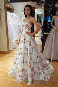 Charming A Line Strapless Sleeveless White Floral Tulle Long Prom Dress Evening Dress OHC433 | Cathyprom