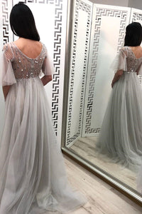 Charming A Line V Neck Beaded Long Tulle Prom Dresses Long Grey Prom Dress OHC503 | Cathyprom