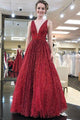 Cheap A Line Burgundy Sequins Prom Dress Long V Neck Sleeveless Prom Dress OHC451 | Cathyprom