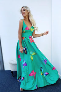 Cheap A Line V Neck Floor Length Sleeveless Green Satin Floral Long Prom Dress OHC465 | Cathyprom