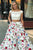 Cheap Two Piece Floral Prom Dress White Lace Satin Long Prom Dress OHC466 | Cathyprom