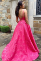 Custom A Line V Neck Sweep Train Long Satin Prom Dresses Evening Dresses OHC502 | Cathyprom