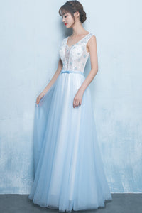 Cute A Line Scoop Neck Long Blue Chiffon Tulle Prom Dress Party Dresses OHC494 | Cathyprom