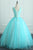 Cute A Line V Neck Blue Tulle 3D Flower Long Sweet Prom Dresses OHC488 | Cathyprom