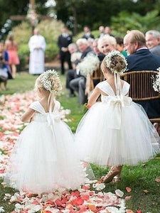 Cute Sleeveless Ivory Ankle Length Tulle Bowknot Flower Girl Dresses OHR010 | Cathyprom