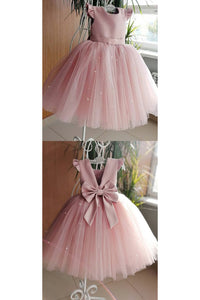 Backless Tulle Beading Cap Sleeve With Bowknot Flower Girl Dresses OHR031 | Cathyprom
