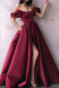Elegant A Line Off Shoulder Burgundy Satin Long Slit Prom Dress Evening Dress OHC391 | Cathyprom