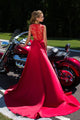 Elegant A Line Red See Through Back Long V Neck Prom Dresses Evening Dresses OHC486 | Cathyprom