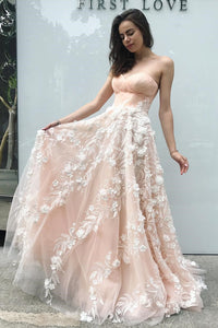 Elegant A Line Sweetheart Blush Pink Tulle Long Lace Appliques Evening Dress Prom Dress OHC472  | Cathyprom