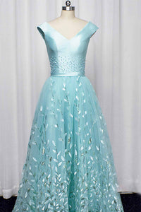 Elegant A Line Tulle V Neck Satin Lace Up Long Prom Dresses Formal Dresses OHC498 | Cathyprom