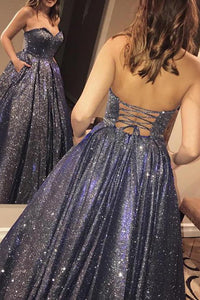 Elegant Ball Gown Sweetheart Dark Gray Sleeveless Long Sequins Prom Dresses Evening Dresses OHC435 | Cathyprom