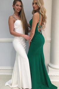 Elegant Mermaid White Green Satin Beaded Long Graduation Dresses Prom Dress OHC480 | Cathyprom
