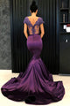 Elegant Purple Satin Cap Sleeves V Neck Long Lace Mermaid Formal Prom Dress Evening Dress OHC427 | Cathyprom