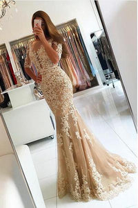 Elegant Half Sleeve Lace Mermaid Backless Prom Dresses, Long Cheap Evening Dresses CP613