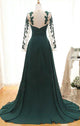 Elegant Long Sleeve Green Chiffon Long Appliqued Prom Dresses, Open Back Party Dresses CP612