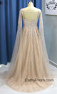 Stunning Beading A Line Long Prom Dresses Sweetheart Arabic Prom/Evening Dress with Sleeves HSC2210|CathyProm