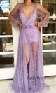 Sexy Deep V-neck Purple Prom Dress Charming Pearl Long Sleeve Prom/Evening Gown with Slit HSC2214|CathyProm