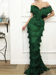 Unique Emerald Green Tassel Arabic Prom Dress Mermaid Off the Shoulder Crystal Beaded Long Prom/Evening Dress HSC2216|CathyProm
