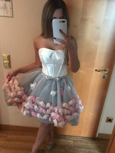 White and Silver Strapless Flower Cute Homecoming Dress 2019 Short Prom Party Gown HSC3311|CathyProm