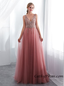 Sexy Deep V-neck Modest Tulle Beaded Long Prom Dress A Line Floor Length Prom Evening Gown HSC3314|CathyProm