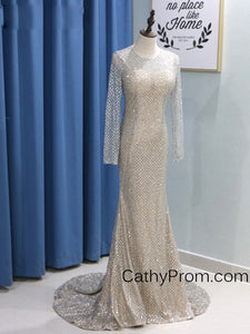 Long Sleeve Sequin Gold Sparkly Prom Dress 2019 Mermaid Prom Dress Evening Gowns HSC5519|CathyProm