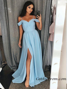 Spaghetti Straps Cap Sleeve Red Satin Long Prom Dress with Slit A Line Prom Evening Dress HSC6612|CathyProm