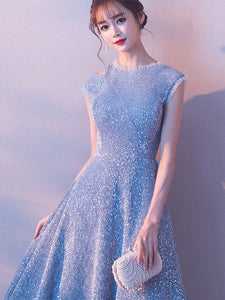 Sexy Cap Sleeve Light Blue Sparkly Homecoming Dress Tea Length Short Prom ,Party Dress HTB4523
