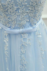 Blue Homecoming Dress Scoop Knee Length Appliques Short Prom Dress Party Dress OHM180