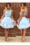 Sexy Homecoming Dress A-line Halter Rhinestone Light Sky Blue Short Prom Dress Party Dress OHM160