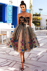 Beautiful A Line Sweetheart Sleeveless Appliques Tulle Butterfly Homecoming Dress Short Prom Dress Party Dress OHM112 | Cathyprom