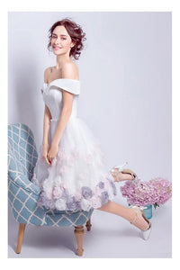 Beautiful Homecoming Dresses A-line Off The Shoulder Sleeveless Tulle Floral Short Prom Dress Party Dress OHM118 | Cathyprom