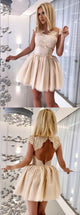 Simple Lace Homecoming Dresses Scoop Aline Short Prom Dress Cheap Party Dress OHM172