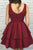Simple Burgundy Homecoming Dresses Aline Cheap Short Prom Dress Party Dress OHM176