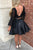 Two Piece Homecoming Dresses Long Sleeves Backless Satin Short Prom Dress Sexy Party Dress OHM119 | Cathyprom