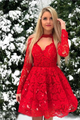 Long Sleeve Homecoming Dresses Open Back Lace Applique Short Prom Dress Party Dress OHM122 | Cathyprom