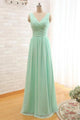 A Line Sweetheart V-neck Floor Length Sleeveless Long Chiffon Bridesmaid Dresses with Ruffles OHS124 | Cathyprom