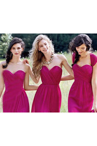 Cheap Sexy A-line Sweetheart Floor Length Sleeveless Chiffon Silt Bridesmaid Dresses with Ruffles OHS110 | Cathyprom