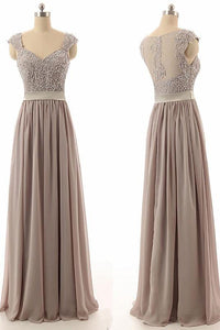Sexy A-line V Neck Floor-length Chiffon Sleeveless Long Bridesmaid Dresses with Sequins OHS105 | Cathyprom