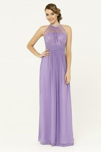 Chic Sexy A Line Halter Floor Length Sleeveless Long Chiffon Bridesmaid Dresses with Lace Applique OHS106 | Cathyprom